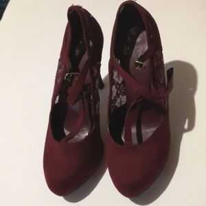 ❤️2for $15 Maroon Spring Velvet Lace Shoes